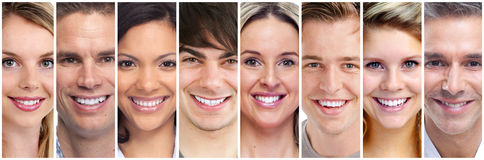 Happy people face set Royalty Free Stock Photography