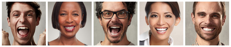 Happy people faces set. Happy laughing people faces set collage background Stock Images