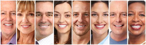 Happy people faces set stock photo