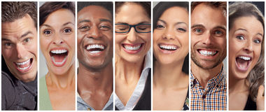 Happy people faces set Royalty Free Stock Photo