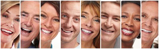 Happy people faces set stock image