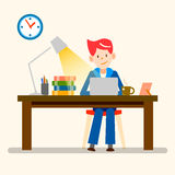 Happy people, freelance, working from home  design Royalty Free Stock Images