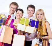 Happy people with gift boxes Stock Photos