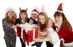 Happy people give one big general gift Stock Images