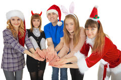 Happy people give one general gift Stock Photo
