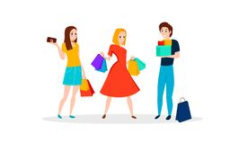 Happy people go shopping. vector illustration