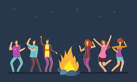 Happy people group dancing at campfire. Music festival camping vector cartoon concept. Dance people around fire, night flame illustration Stock Photo