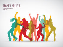 Happy people group shadow color silhouette. Stock Photography