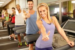 Happy people in gym Royalty Free Stock Photos