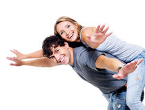 Happy people with the hands lifted upwards Royalty Free Stock Image