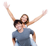 Happy people with the hands lifted upwards Royalty Free Stock Photography