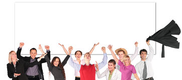 Happy people with hands up and board for text Stock Image