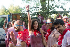 Happy people during Haro Wine Festival Royalty Free Stock Image