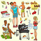 Happy people having BBQ party Royalty Free Stock Photography