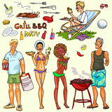 Happy people having BBQ party Royalty Free Stock Image