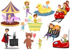 Happy people having fun in amusement park set, carousel, ferris wheel, roller coaster, car, magician cartoon vector. Illustrations on a white background Stock Photography
