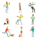 Happy people having fun with pets, man, women and kids training and playing  Royalty Free Stock Photo