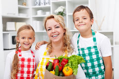 Happy people with healthy food Royalty Free Stock Images