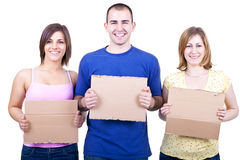 Happy people  holding cards Royalty Free Stock Photography