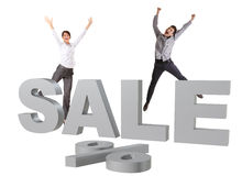 Happy people jumping behind big silver SALE sign royalty free illustration