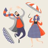 Happy people are jumping and enjoying the autumn day. stock illustration