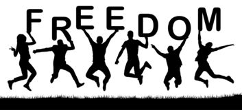 Happy people jumping, hold the letters in their hands, the word freedom. Vector silhouette royalty free illustration