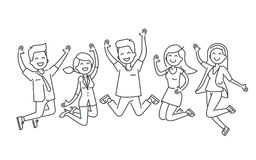 Happy people jumping line illustration isolated on white background royalty free illustration