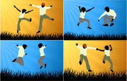 Happy people jumping in nature Royalty Free Stock Photography