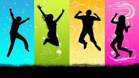 Happy people jumping silhouette. Vector Stock Images