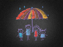 Happy people, kids, and parents. Play and education picture. Kids drawing style Royalty Free Stock Photography