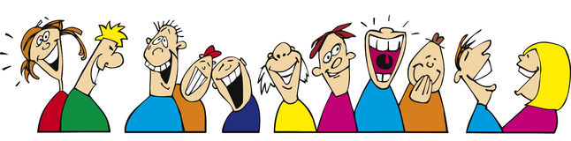Happy people laughing. Cartoon illustration of happy people laughing Royalty Free Stock Images