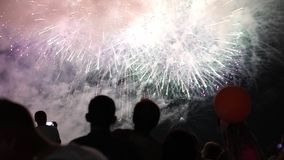Happy people look festive Fireworks stock footage
