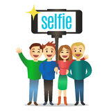 Happy people making self portrait. Vector illustration. Royalty Free Stock Images