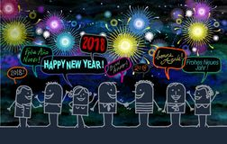 Happy People and New Year 2018 by Night royalty free illustration