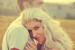 Happy people outdoors beautiful landscape and couple in love wit Royalty Free Stock Photo
