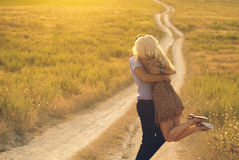 Happy people outdoors beautiful landscape and couple in love wit