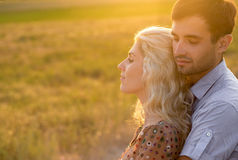 Happy people outdoors beautiful landscape and couple in love wit Stock Photography