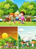 Happy people playing in the park. Illustration Royalty Free Stock Images