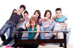 Happy people pointing at camera Stock Photos