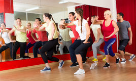 Happy people practicing choreography Royalty Free Stock Photography