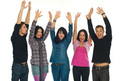 Happy people raising hands Royalty Free Stock Photography