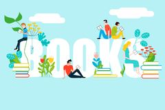 Happy people reading on books text Royalty Free Illustration