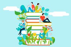 Happy people reading on tower of books. Vector colorful illustration isolated on background Royalty Free Stock Images