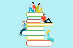 Happy people reading on tower of books. Vector colorful illustration isolated on background Stock Photography