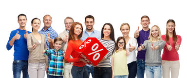 Happy people red percentage sign showing thumbs up Royalty Free Stock Images