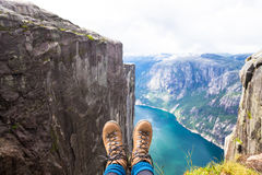 Happy people relax in cliff during trip Norway. hiking route Stock Photography