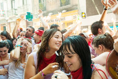 Happy people at San Fermin feast Stock Image