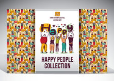 Happy people set big group collection Stock Photo