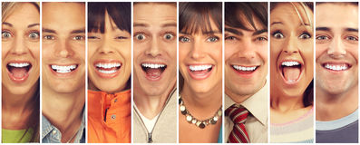 Happy people. Set of happy laughing faces. People collection stock photography