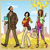 Happy people with shopping bags Royalty Free Stock Images